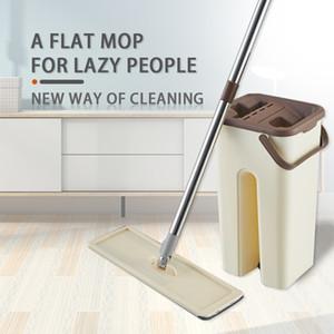 Fregona con el cubo de manos libres plana mop Squeeze Auto en húmedo y en seco de microfibra de limpieza de la fregona y la limpieza de suelos Herramientas