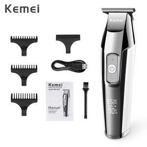 Kemei Elektrikli Saç Kesme LCD Ekran 0mm Erkekler DIY Sakal Baldheaded Giyotin KM-5027 hairclippersdesign fndIR