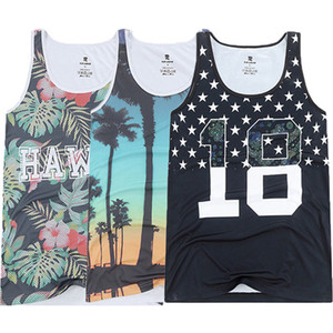 Casual T-Shirts Uomo Beach Serbatoio Spiaggia di base oversize Paesaggio Uomo Canotta senza maniche Vest