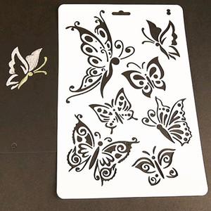 1 hoja de plantillas de capas de mariposas para paredes pintura álbum de recortes sellos álbum decorativo en relieve tarjetas de papel herramienta de artesanía bricolaje