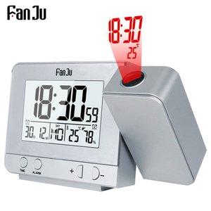 Ev Bahçe FanJu FJ3531 Projeksiyon Çalar Saat Dijital Tarih Erteleme Fonksiyonu Arka Işık Projektör Danışma Masa Led Saat ile Zaman Projeksiyon