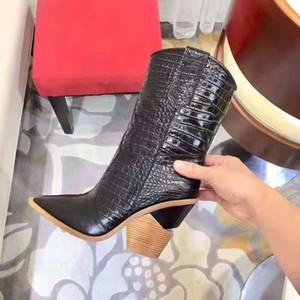 Frauen Neuerscheinung Kurz westlichen Booties echtes Leder Cowboystiefel Cutwalk Crocodile Geprägtes Ankle Boots Fashion Show Schuhe
