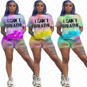 أنا غير قادر على التنفس الدعاوى النساء أنا لا أستطيع التنفس التعادل صبغ رسائل رياضية الصيف تي شيرت ثقوب تموج السراويل اثنين من قطعة مجموعات D61707 تتسابق جديد