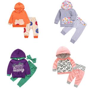 Criança Meninas com capuz Suit Crianças Cervos do Natal com capuz Suit crianças roupa ocasional Meninas Sereia Calças Headband Baby Kids Printed Outfits 06