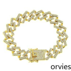 Europe and America hip-hop diamond full diamond men's bracelet jewelry domineering exaggerated Miami Cuban chain bracelet width 15mm