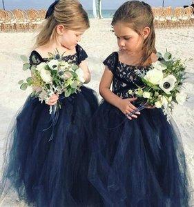 Neue Ankunft Marineblau Spitze Arabisch Boho Blumenmädchenkleider Günstige Ballkleid Tüll Kind Brautkleider Vintage Little Girl Pageant Kleider