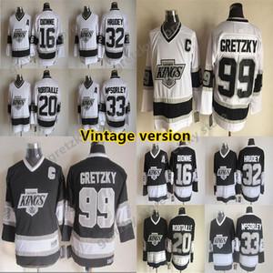 Мужские Los Angeles Kings Винтажной версии майка 16 Диона 32 HRUDEY 99 Гретцкий 33 Максорело 20 Робитейллы CCM Hockey Джерси