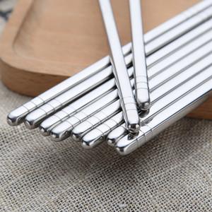 5 pares / Set Chinese metal Chopsticks antiderrapante aço inoxidável Chop Sticks conjunto reutilizável Food Sticks Sushi Hashi Baguette