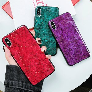Glitter Glossy Marble Cases For iPhone X 7 8 6 6s Plus Soft Silicon Cover For iphone XS MAX XR Gold Foil Case