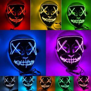 Halloween Led glühende Maske V Horror-Geist-Schablonen-Beleuchtung EL-Draht DJ Bar Joker Gesicht Guards Schleier costome Partei Cosplay Masken GGA2748