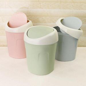 Пластиковые Mini Desktop Waste Bin Home Kitchen Trash Can Роллинг Обложка Dustbin