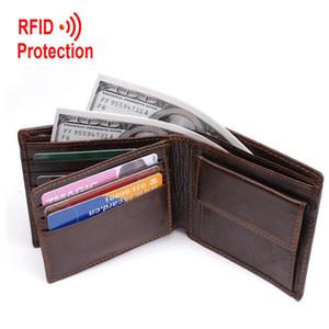Rfid protezione del cuoio genuino degli uomini portafogli di marca portafogli con monete tasca portamonete regalo per gli uomini titolare della carta borsa bifold Y19052104