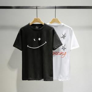 20SS Ins Hot Travis Scott x Dover étoiles sourire face Puff T-shirt imprimé Skateboard Hommes Femmes Rue T-shirt décontracté