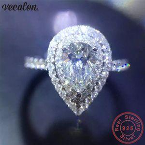 Vecalon Water Drop Promise Ring 925 Sterling Silber Verlobungsring Birne Diamant Ehering Ringe für Frauen Schmuck