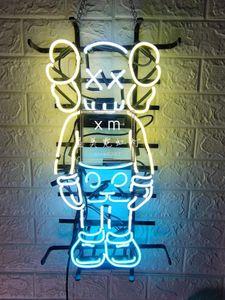 Benutzerdefinierte KAWS Neon Bar Zeichen Echtglas Neon Light Beer Sign Neon 24inches Senden Foto besonders angefertigt