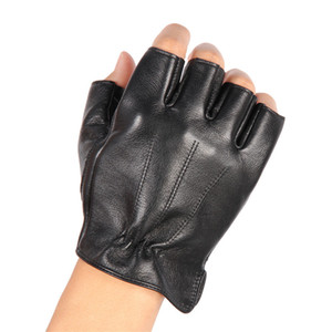 Fashion-Men'S Leather Half Finger Gloves Locomotive Driving Non-Slip Fitness Cowhide Gloves Men NAN48-5