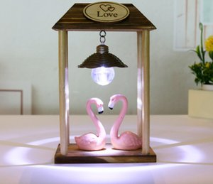 New Wood Hand-carved Crafts Creative Fashion Resin Perfect Home Decoration Ornaments Flamingo Beautiful Wood Products Nightlight