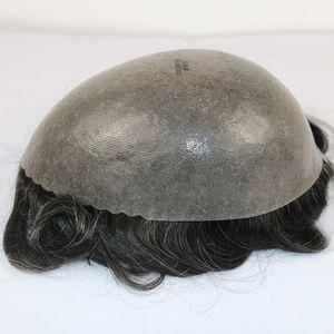 Súper Duradero Piel fina Hombres en pie, 100% Natural Sistema de cabello humano Silicone Base Men Peluca de cabello, Skin Base Hair Prótesis Reemplazo Pelucas