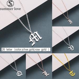 Heißer Verkaufs-Antike Buchstaben Halskette für Frauen-Edelstahl-Altenglisch A-Z Initial Anhänger Halskette Freunde Familie Partei Schmuck-Geschenk-Z