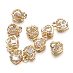 2020 Mode monotrou Coeur en cristal carré suspendu Charms Perle Bracelet originale Collier Boucles d'oreilles Bijoux bricolage Fournitures Making