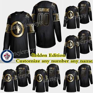 201 Jets de Winnipeg Golden Edition 2019 Patrik Laine 26 Blake Wheeler 55 Mark Scheifele Personnalisez n'importe quel numéro n'importe quel nom, maillot de hockey