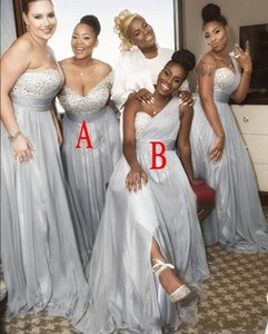 New African Sliver A Line Bridesmaid Dresses Sweetheart Beads Crystal Floor Length Black Girl Prom Wedding Guest Dresses Maid Of Honor Dress