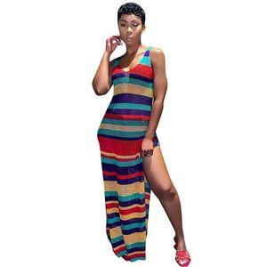El yapımı Tığ Plaj Uzun Elbise Kadın Yaz Sundress Boho Yaz Maxi Elbiseler Oymak Elbiseler Kadın Seksi Örme Kromatik şerit Elbise Robe