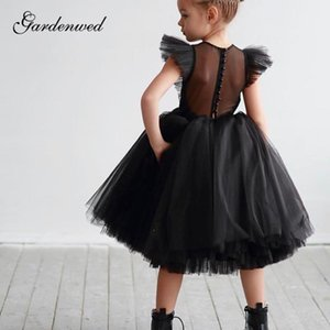 Black Flower Girl Dresses Illusion Back O-Neck Girl Pageant Dresses Pleated Tulle A-Line Knee-Length Girls Wedding Party