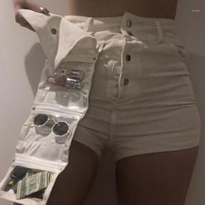 Multi Pocket Shorts Moda Naturale Colore velluto a coste pantaloni casual staccabile Tasche Shorts femmine Abbigliamento Donna Designer