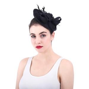 Feather Curly Sinamay Disc Fascinator Высококачественная Шерстяная Розетка Fascinator Шапки в Стиле Ретро Женская заколка для волос Аксессуары для волос