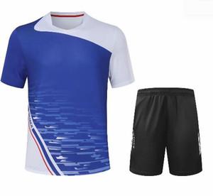 Erkek badminton T-shirt, çabuk kuruyan masa tenisi gömlek forması şort yaka giyim ceket, badminton giyim takım elbise setleri