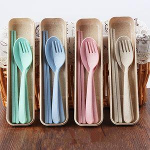 Vajilla de plástico portátil Cuchara de plástico Tenedor Palillos Set Nuevo diseño Ecológico 4 colores Paja de plástico reutilizable Cubiertos de plástico