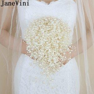 JaneVini Lüks Inciler Gelin Buketi Şelale Gelin Düğün Buketleri Broş Şerit Yaka Çiceği Bilek Korsaj Fiori Matrimonio