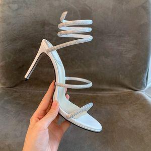 Para mujer de lujo diapositivas de diseño flip flops sandalias zapatos de vestir 20SS Crystal Serpentina atractivo strass Cleo partido de las sandalias de tacón alto de la sandalia del rc
