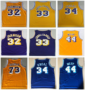 Meilleure qualité Vintage 73 # Rodman Shaquille # 34 Maillot O Neal # 33 Kareem Abdul Jabbar Maillot 13 # Wilt Chamberlain Jerry 44 # Ouest Maillots Chemise