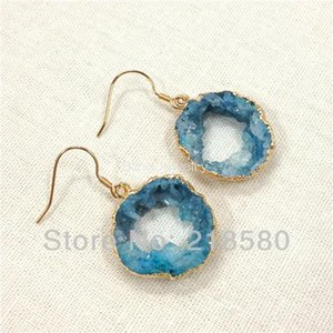 H-CE29 Healing Crystal Blue Agat Slice Geode Druzy Drop Earrings Gold Color