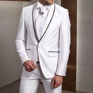 New White Slim Fit Men Suits Wedding Black Edge Groom Tuxedos 2 Pieces (Jacket+Pants) Groomsman Suits Best Man Blazer 555