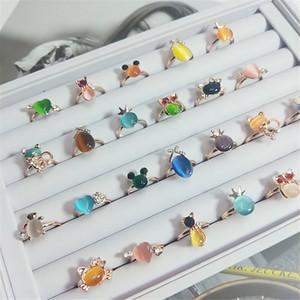 Cr Schmuck Neue Katze Augen Stein Diamant Silber Überzogene Ring Zarte Blume Fox Ringe Mix Designs Kostenloser Versand JZR046
