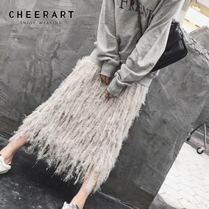 Cheerart Fall Knit Skirt Women Designer Feather Sweater Skirt Grey A Line Elastic High Waist Long Midi Crochet Skirt Fashion CX200703