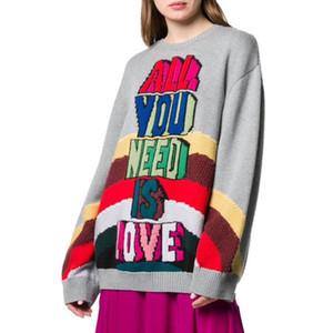 Para mujer de alta calidad Hih Street suéteres del suéter de pista de invierno de Navidad rayados del arco iris Cartas Jacquard larga floja de la manga del suéter Mujer