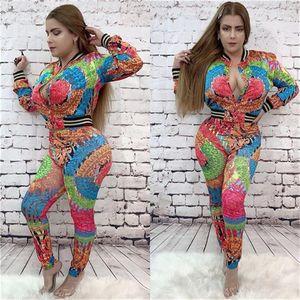 Designer otoño 2pcs chándales de cuello redondo con capucha Pantalones largos de impresión floral de la moda de lujo ocasionales Ropa para mujer