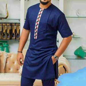 Lose kurze Hülsen-Farben-Block Dashiki Hemd Rich-bazin Afrikanischer Männer Kleidung Afrika lange T-Shirt Mann Oberseiten-beiläufiges T-Shirt Y200104