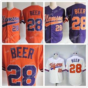 2017 NCAA Clemson Tigers baseball Jersey 28 Seth Beer College chandails Rafraîchissez base JERSEY Gris Blanc Cousu Seth bière Chemises