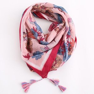 2019 new European and American style light and thin fashion print flower color tassel cotton linen scarf