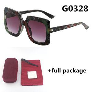 De nouvelles dames 0328 lunettes de soleil lunettes multicolores semaine de la mode UV400 grands hommes de lunettes de cadre 5 couleurs avec boîte