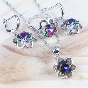 Cubic Zirkonia Regenbogen Brautmodeschmuck Sets Silber 925 Frauen Hochzeit Schmuck Ring Halskette Sets Ohrringe