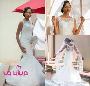 2019 Romantic White Wedding Dress Elegant Mermaid Sheer Jewel Neck Garden Bridal Gown Custom Made Plus Size
