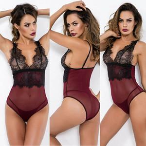 Señora atractiva LingerieOne pieza ropa de noche de las mujeres de la muñeca del cordón de la ropa interior del traje ropa de dormir media del cuerpo de la ropa interior S-2XL