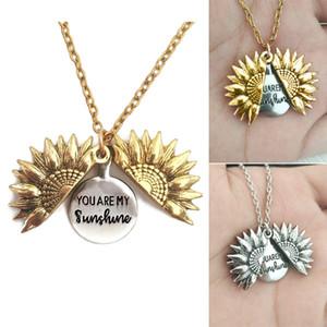 Sunflower Double-Layer-Beschriftungs-Halsketten-Legierung Blumen-Kurzschluss Claviclekette Sie sind mein Sonnenschein-Charme-Anhänger Neckalace für Frau