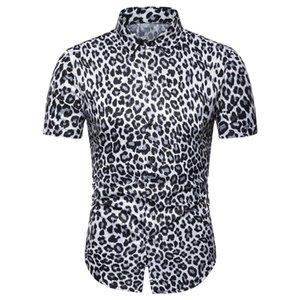 Мужские повседневные рубашки Мужчины с коротким рукавом для похудения Летние свободные печатные леопардовые пляжные рубашки путешествия праздничные вершины Tees Plus размер